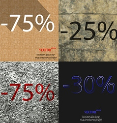 25 75 30 icon set of percent discount on abstract vector