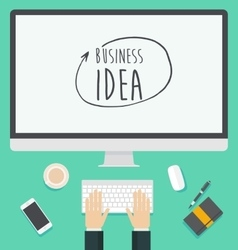 Flat design concept for web business idea trendy vector