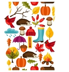 Seamless pattern with autumn icons and objects vector