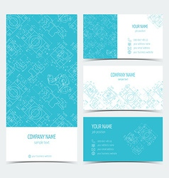 Set of engineering business cards flyers leaflets vector
