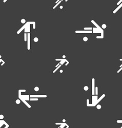 Football player icon seamless pattern on a gray vector