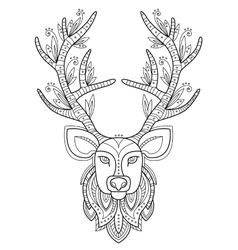 Patterned deer head with big antlers vector