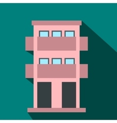 Two-storey house with balcony flat icon vector