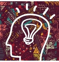 Brain creative head business idea art icon and vector