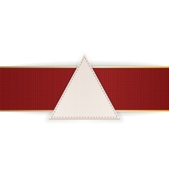 Greeting triangle emblem with red ribbon vector