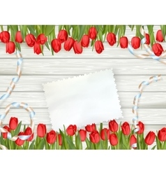 Bouquet of tulips with an empty card eps 10 vector