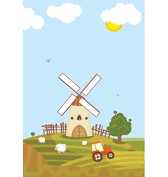 Summer windmill vector