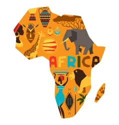 African ethnic background with of map vector