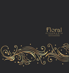 Amazing golden floral background border design vector