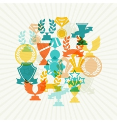 Background with trophy and awards vector image vector image
