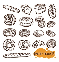 Bakery Products Sketch Set vector image
