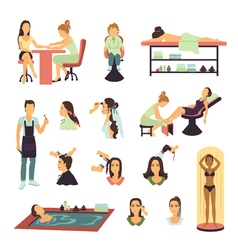 Beauty Salon Spa People Set vector image
