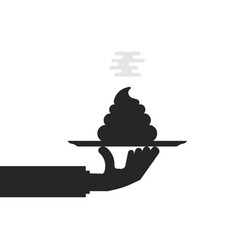 black hand holding shit on plate vector image vector image