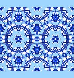 Blue flower kaleidoscope pattern vector