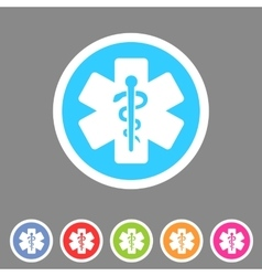 Blue medical icon flat web sign symbol logo label vector
