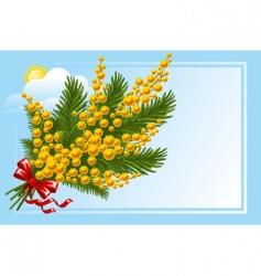 bouquet of mimosa and forgetmenot vector image vector image