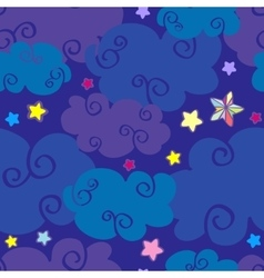Cartoon clouds and stars nighttime seamless vector