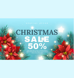 christmas sale banner with poinsettia flower vector image vector image