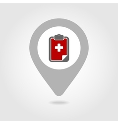 Clipboard map pin icon vector