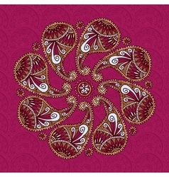 Color paisley flover doodle vector