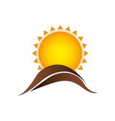 Color sun with brown mountain icon vector