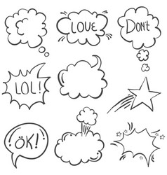 Doodle of text balloon with white background vector
