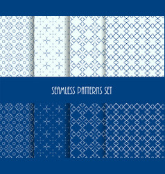 Dotted oriental forms seamless pattern set vector