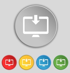 Download load backup icon sign symbol on five flat vector