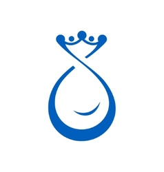 Drop of water with crown vector image vector image
