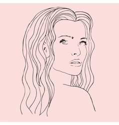Fashion beautiful woman with long wavy hair vector image
