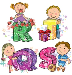 Funny alphabet with kids RQST vector image