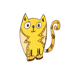 funny cat doodle vector image