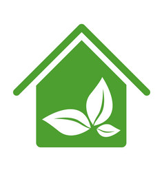Green house with leaves inside icon vector