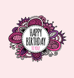 Happy birthday circle hand drawn pink vector