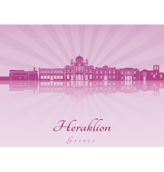 Heraklion skyline in purple radiant orchid vector image