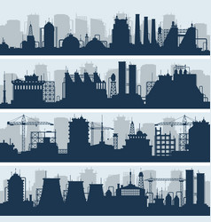 industrial skylines modern factory and vector image vector image