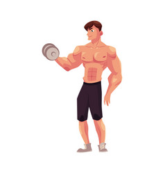 Man bodybuilder weightlifter doing bicep workout vector