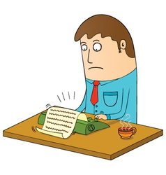 Man using typewriter vector image vector image