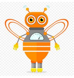 orange friendly cartoon bee robot character vector image vector image