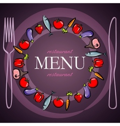 restaurant menu design with food icons vector image vector image