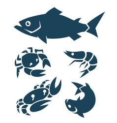 seafood signs vector image vector image