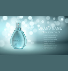 Turquoise realistic parfume bottle vector
