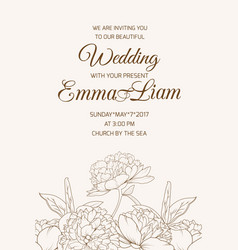 Wedding invitation template rose peony sepia brown vector
