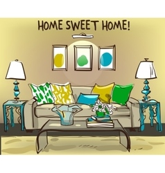 Home interior with sofa and coffee table vector