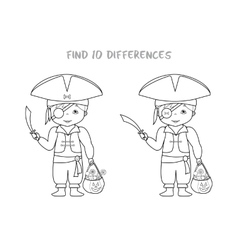 Halloween spot the difference game for kids vector