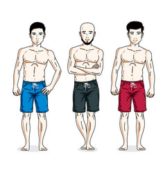 Handsome men standing with perfect body wearing vector