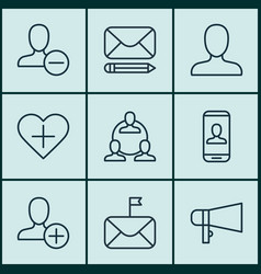 Set of 9 social network icons includes remove vector