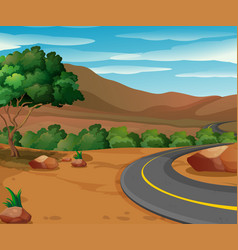 Scene with road to the countryside vector