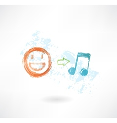music equals good mood grunge icon vector image