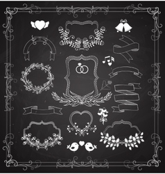Wedding graphic set with wreaths and ribbons vector